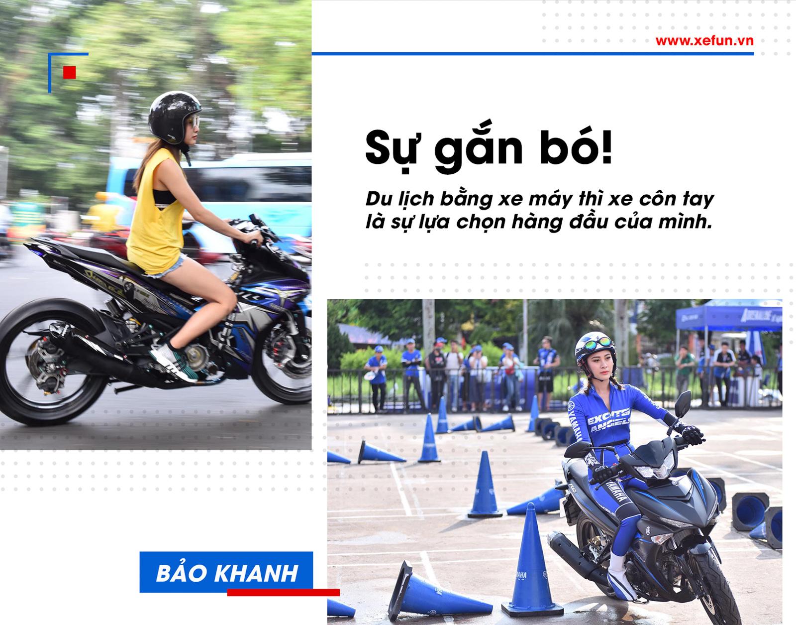 Angels Bảo Khanh chia sẻ: Mình thật sự rất thích di chuyển bằng xe côn tay, hầu như sử dụng nó hằng ngày