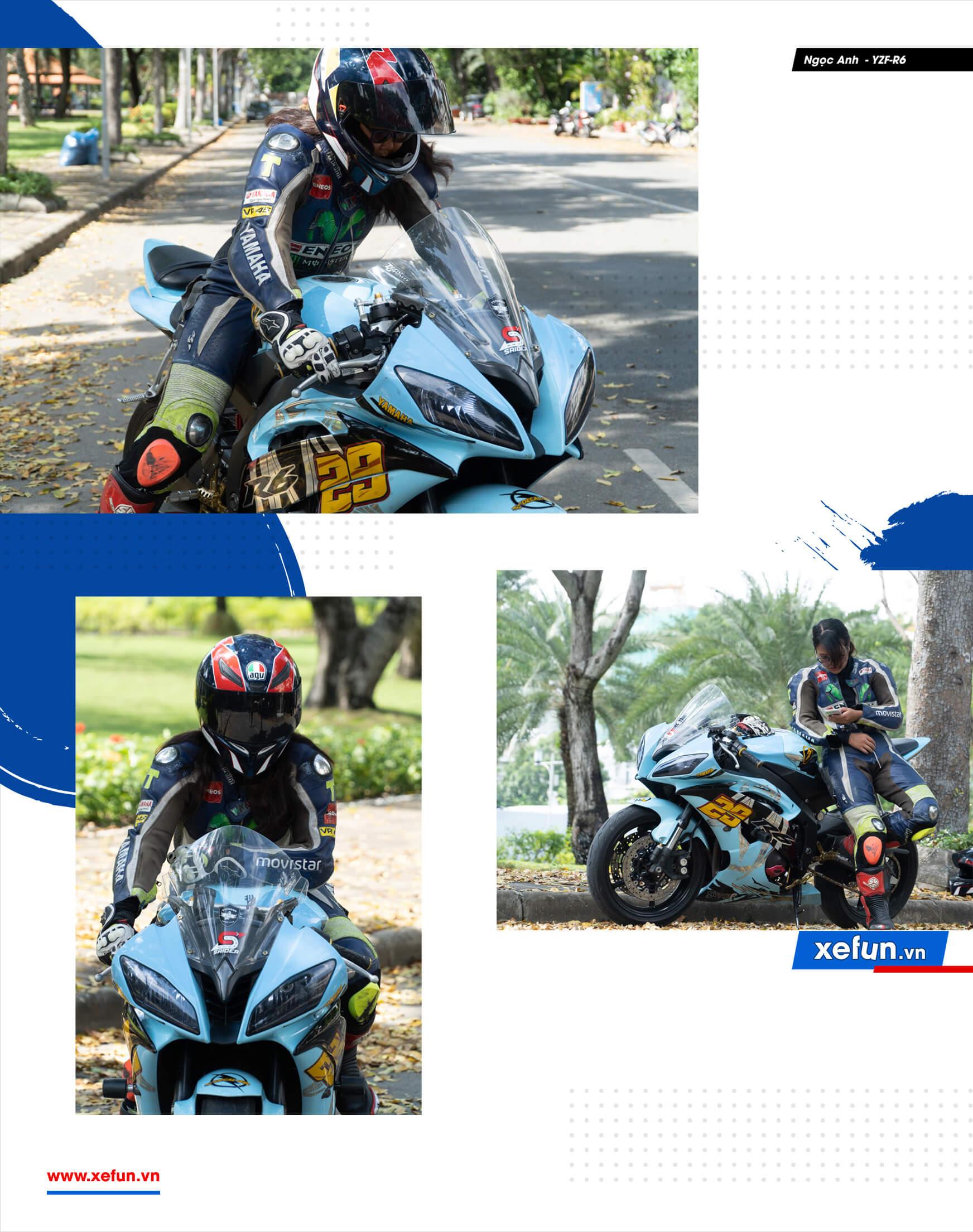 Nữ tay đua Ngọc Anh cùng phút trải lòng về ngựa hoang Yamaha R6 trên Xefun