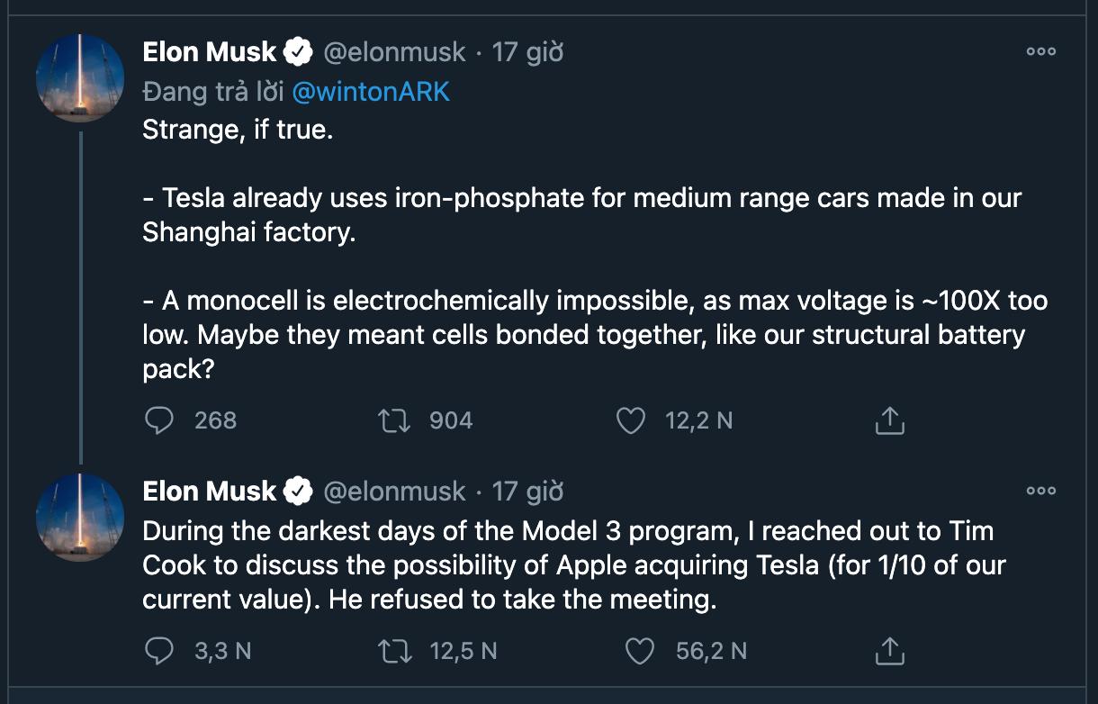 Elon Musk (ông chủ hãng xe điện tự hành Tesla) chia sẻ trên Twitter cá nhân.