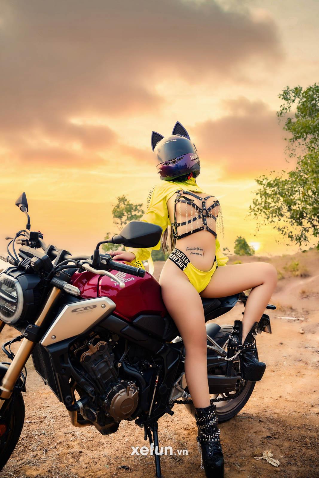 Cực sốc với bộ ảnh táo bạo của hot girl Triệu An bên chiến binh Honda CB650R trên Xefun (2)34t4