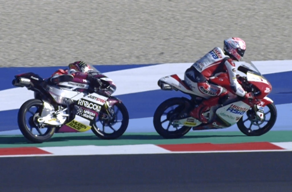 tay đua Yuki Kunii của Honda Team Asia Moto3 bị loại khỏi giải đua San Marino Moto3 tại Misano